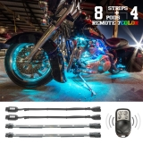 8 Compact Pods + 7 Flex Strips 7 Color Remote Accent Kit for Motorcycle