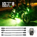 10 Compact Pods + 8 Flex Strips 7 Color Remote Accent Kit for Motorcycle
